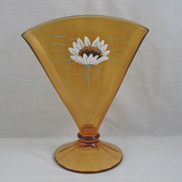 Fenton Amber Daisy Enameled Art Glass Fan Vase