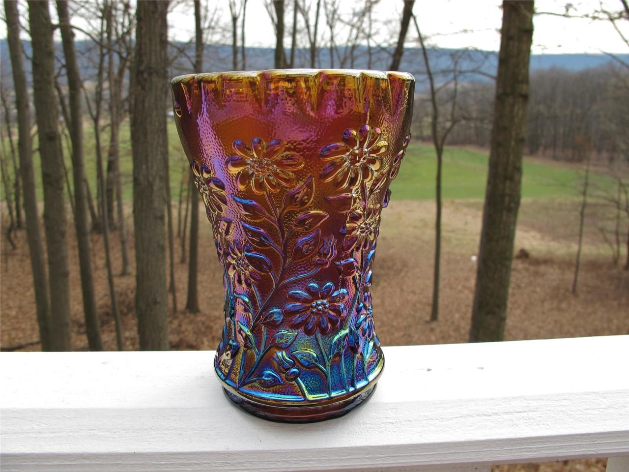 Imperial Amber Daisy Carnival Glass Whimsy Vase Carnival Glass