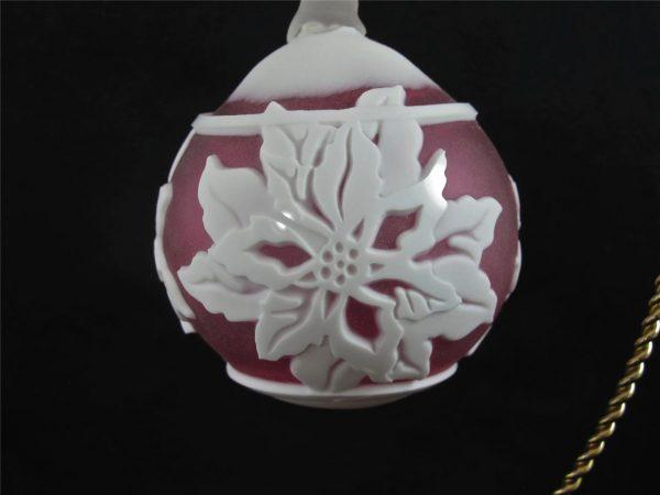 Kelsey Murphy Carpenter Cranberry Poinsettia Cameo Glass Ball
