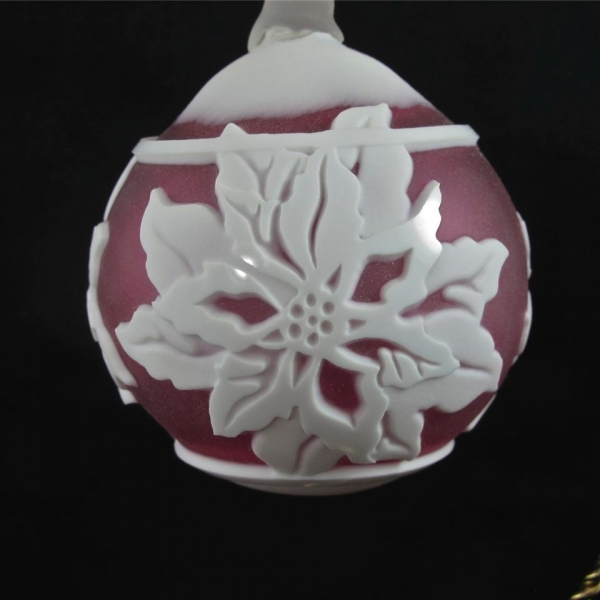 Chris Carpenter Kelsey Murphy Cranberry Poinsettia Cameo Glass Ball Ornament