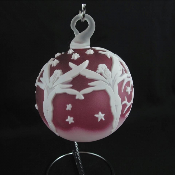 Kelsey Murphy Cranberry and White Fairy Cameo Glass Ball