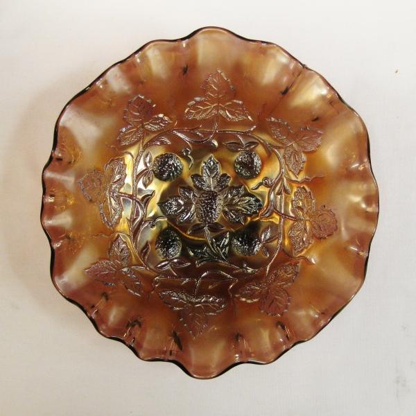 Antique Millersburg Amethyst Blackberry Wreath Carnival Glass Bowl