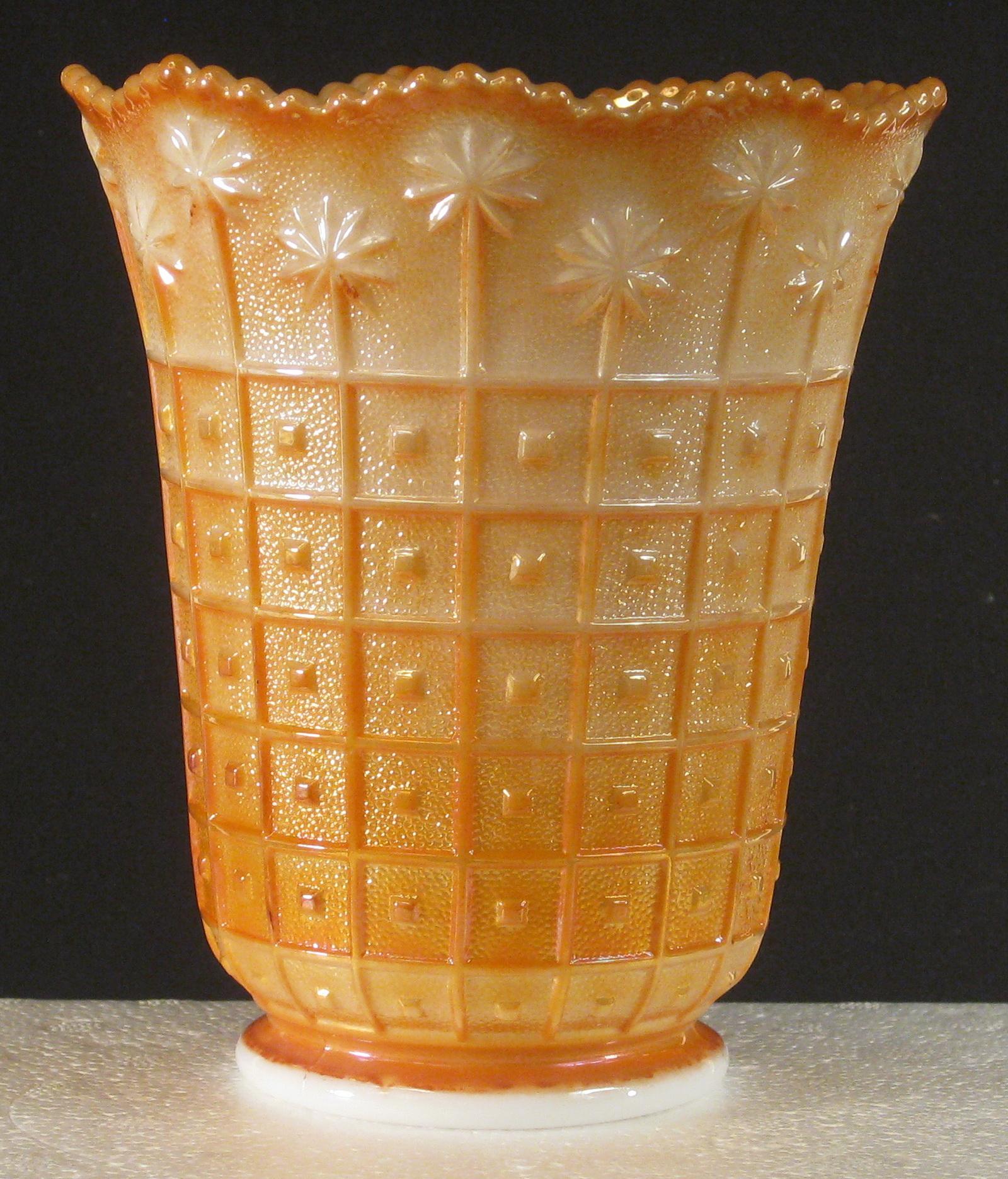 Imperial marigold on milk glass block daisy carnival glass vase imperial marigold on milk glass block daisy carnival glass vase carnival glass reviewsmspy