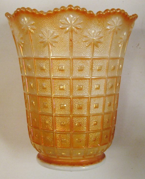 Imperial Marigold on Milk Glass Block & Daisy Carnival Glass Vase