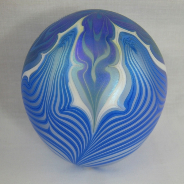 Vandermark Pulled Feather Iridescent Art Glass Paperweight