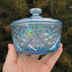 Imperial Lenox Ice Blue Mayflower Carnival Glass Jewelry Box