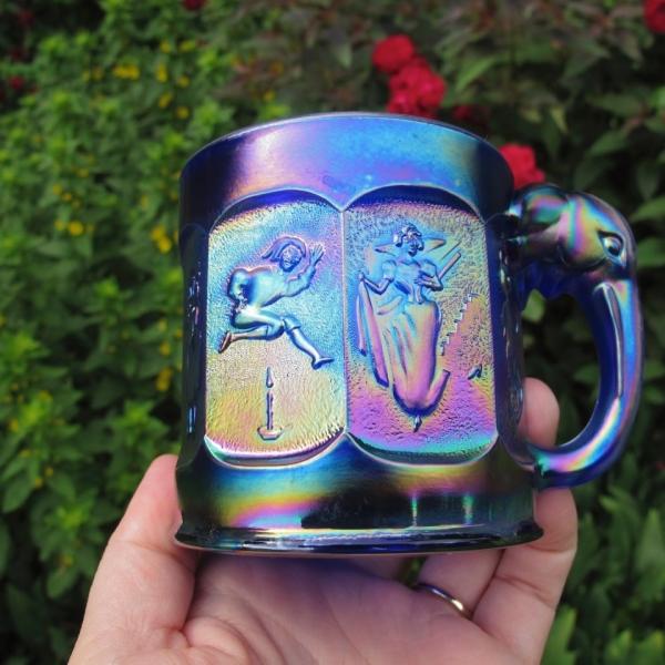 Imperial Electric Blue Storybook Nursery Rhyme Carnival Glass Mug