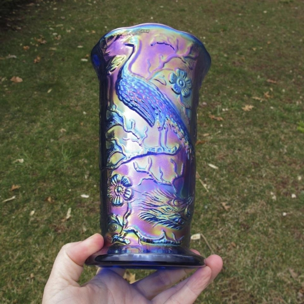 Fenton Electric Blue Peacock Garden Carnival Glass Vase