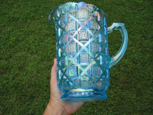 Westmoreland Levay Ice Blue Checkerboard Carnival Glass Water Set