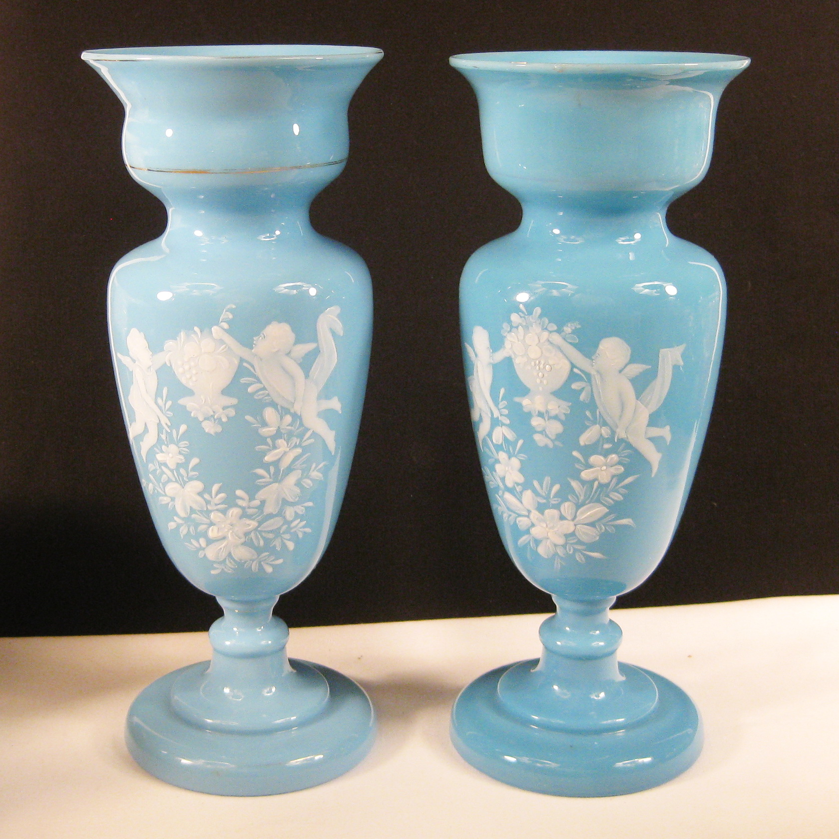Antique Bristol Blue Handpainted Cherubs Bristol Glass Vase Set Carnival Glass