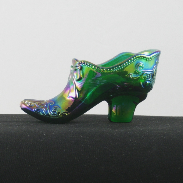 Mosser Hunter Green Bow Slipper Carnival Glass Shoe