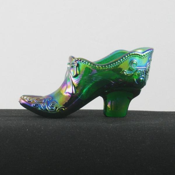 Mosser Hunter Green Bow Slipper Carnival Glass Shoe