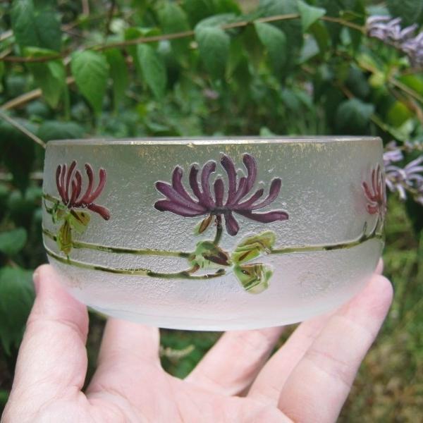 Antique Cristal d'Art Choicy le Roi Painted Cameo Art Glass Bowl