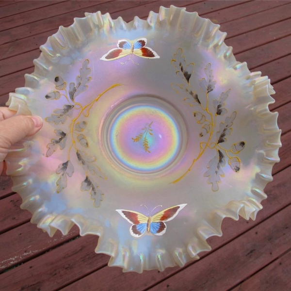 Antique European Aurora Pearls Iridescent Glass Brides Bowl