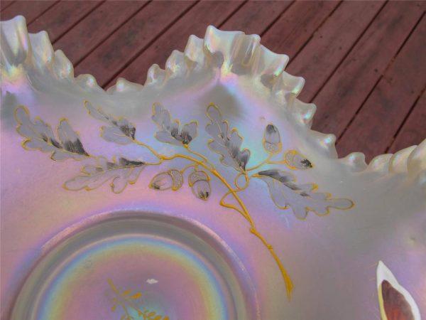 Antique European Aurora Pearls Iridescent Glass Brides Bowl