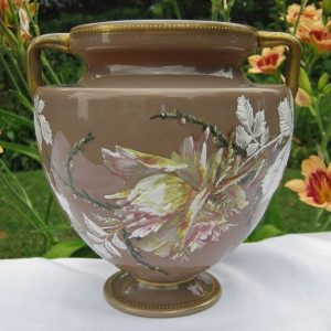 Antique Moser Enameled Rose & Berry Art Glass Urn Handled Vase