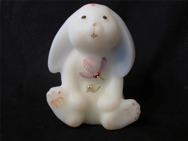 Fenton HandPainted White Glass Bunny Rabbit with Jewels