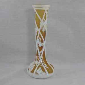 Kelsey Murphy White and Amber Butterfly Art Cameo Glass Vase