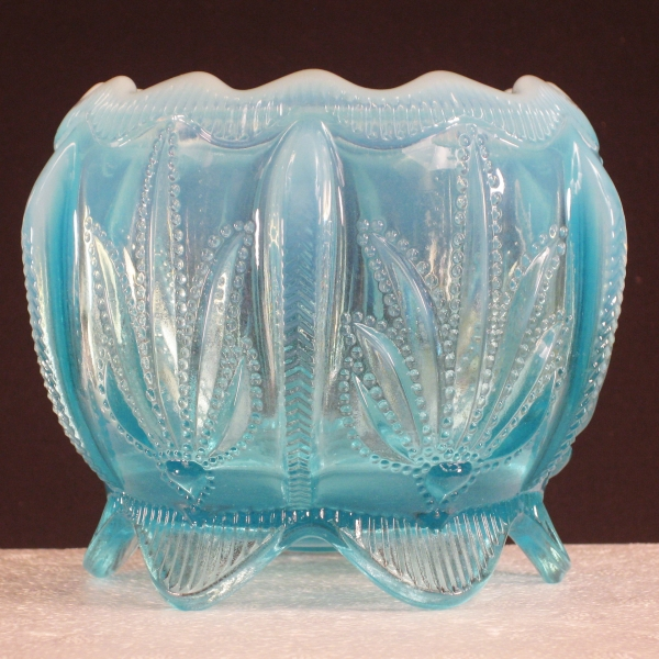 Fenton for Levay Blue Opal Cactus Opalescent Glass Rose Bowl
