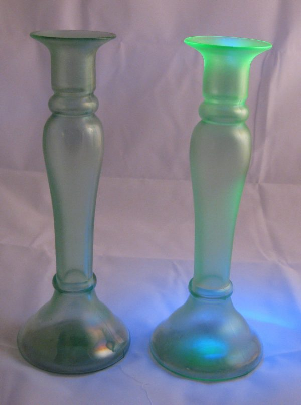 Antique Diamond Green Stretch Glass Candleholder or Vase Pair