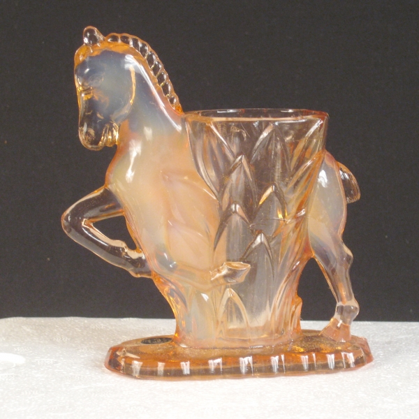 Smith Pink Opal Carol's Sure Win Horse Vase Opalescent Glass Vase