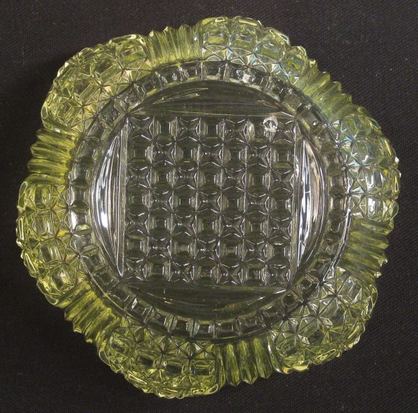 Antique Bryce Bros/US Glass Vaseline Cathedral EAPG Small Bowl