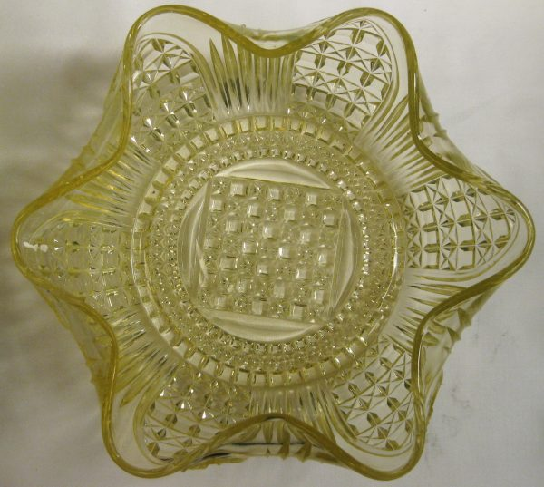 Antique Bryce Bros/US Glass Vaseline Cathedral EAPG Bowl