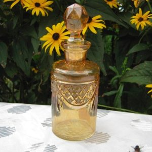 Antique Rindskopf Marigold Lattice & Prisms Carnival Glass Perfume Bottle