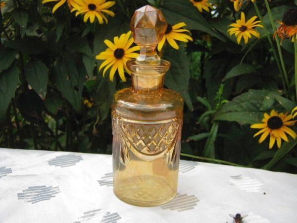 Antique Rindskopf Marigold Lattice & Prisms Carnival Glass Perfume Bottle