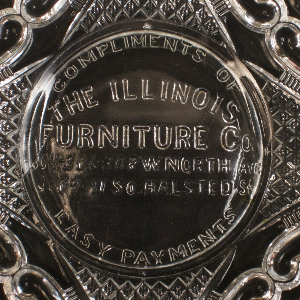 Antique US Glass Daisy & Scroll Illinois Furniture Advertising EAPG Bowl