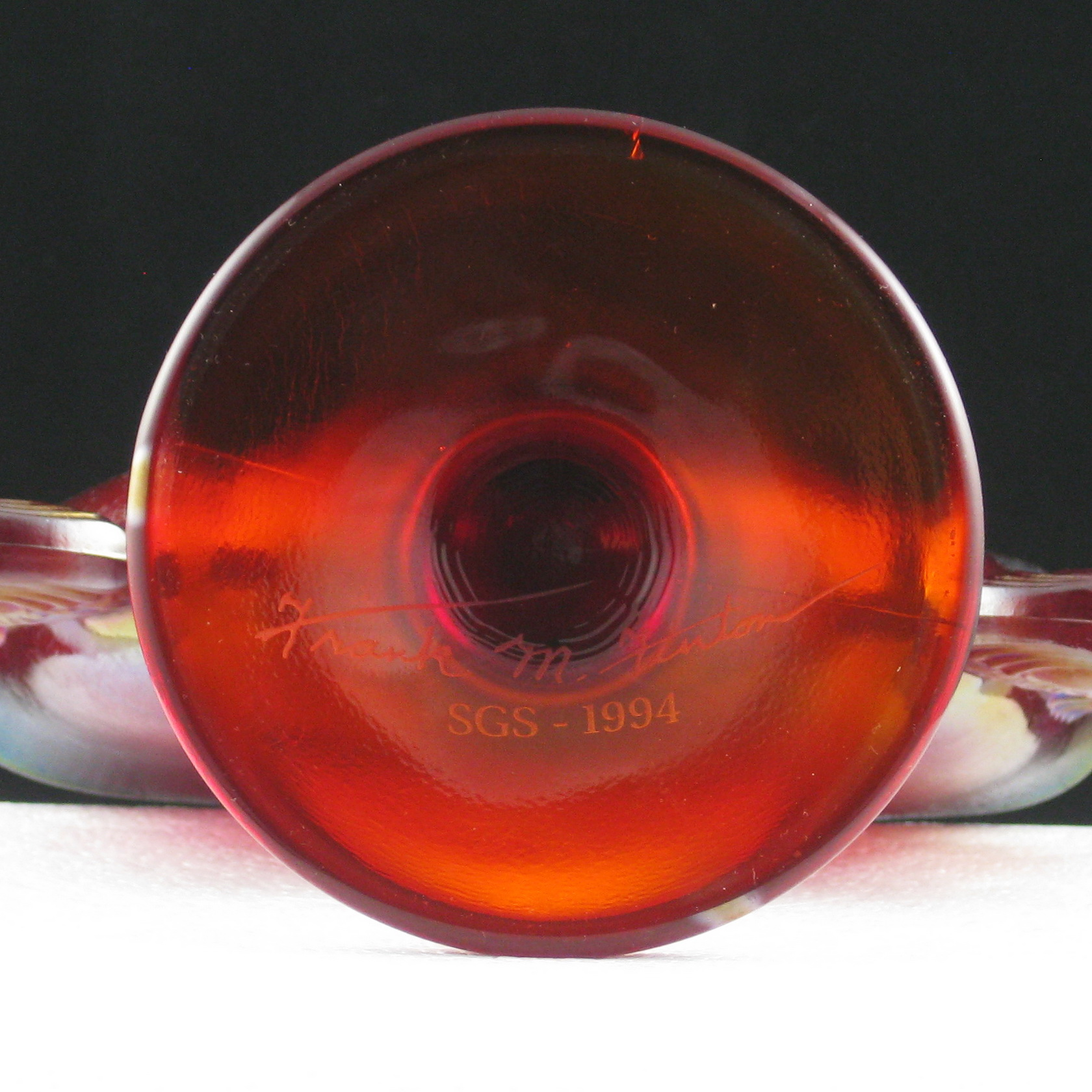 Fenton Ruby Red Double Dolphins Stretch Glass Fan Vase Carnival Glass