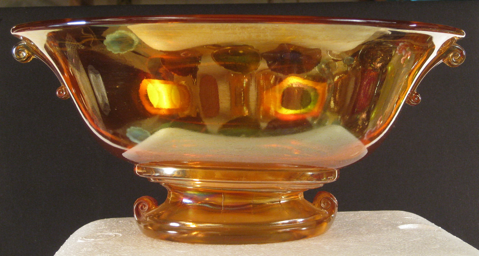 Antique Imperial Marigold Double Scroll Carnival Glass