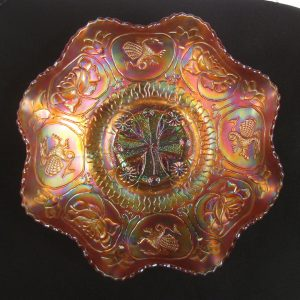 Antique Fenton Marigold Dragon & Lotus Carnival Glass Bowl