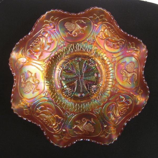 Antique Fenton Marigold Dragon & Lotus Carnival Glass Bowl