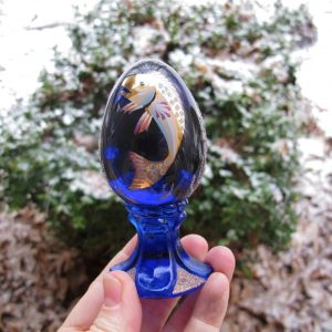 Fenton Koi Fish Cobalt Blue Handpainted Glass Egg Paperweight