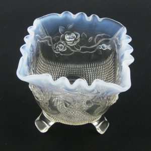 Antique Jefferson White Opal Fine Cut & Roses Opalescent Glass Novelty Bowl