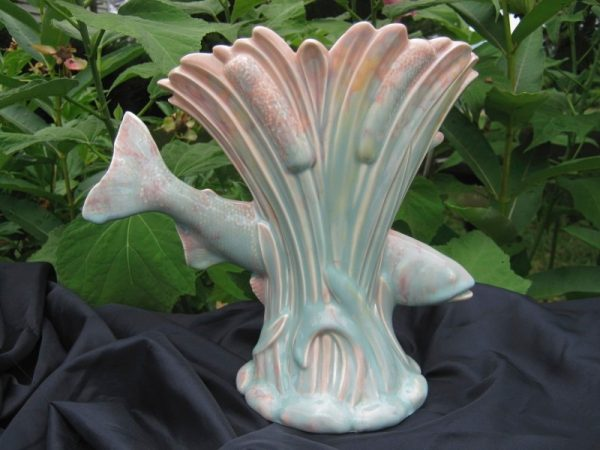 Early Beswick Art Deco Pottery Fish & Cattails Fan Vase