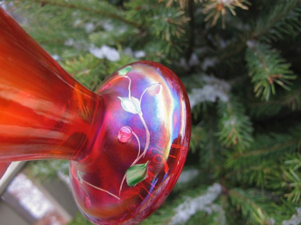Fenton Red Handpainted Carnival Stretch Glass Vase