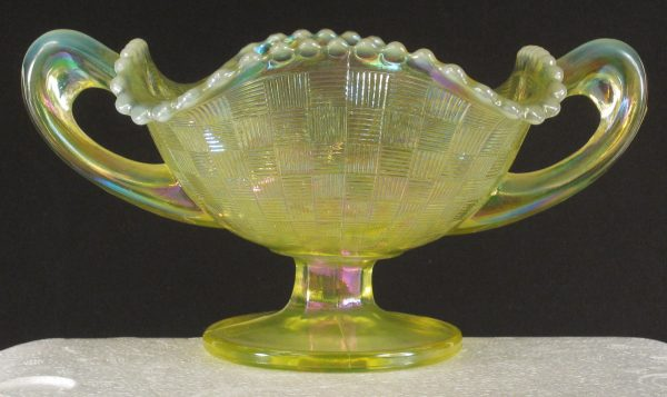 Fenton Vaseline Opal Fruits & Flowers Carnival Glass Bonbon
