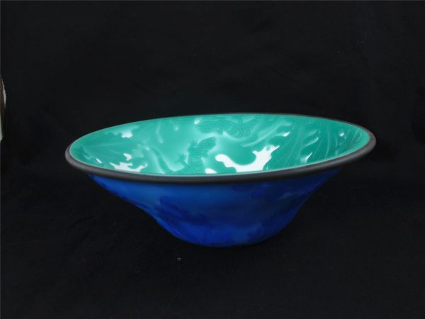 Kelsey Murphy Sea Green, Blue and White Gekko Art Cameo Glass Bowl
