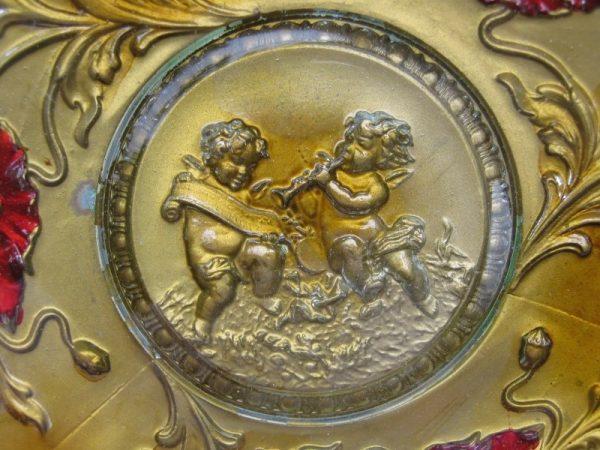 Antique Northwood Goofus Cherubs Angels Cupids EAPG Glass Handgrip Plate