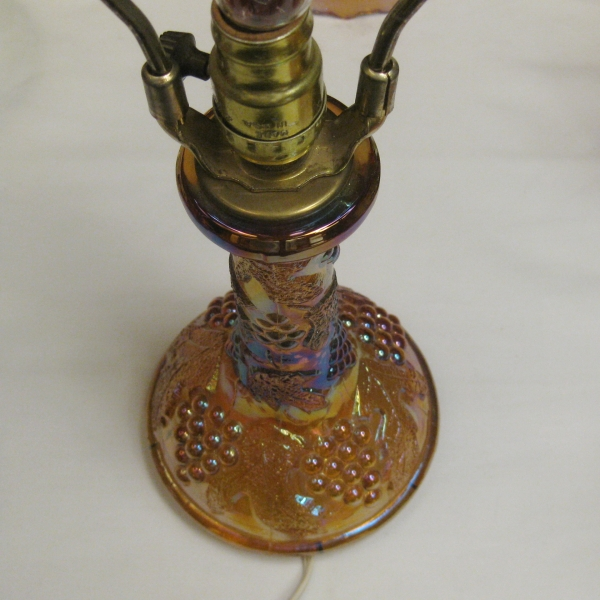 Wetzel Amber Grape & Cable Carnival Glass Lamp