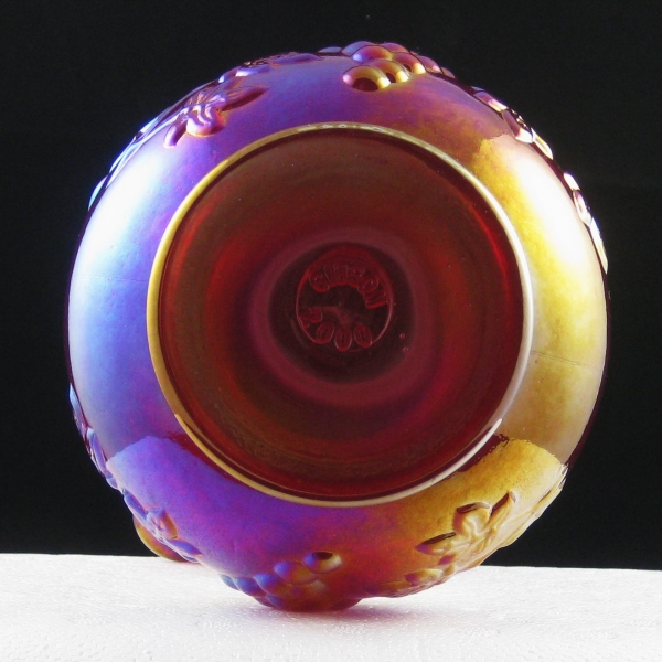 Gibson Red Grape Carnival Glass Tri-Flame Vase
