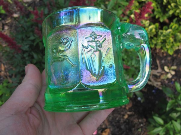 Imperial Ice Green Storybook Nursery Rhyme Carnival Glass Mug