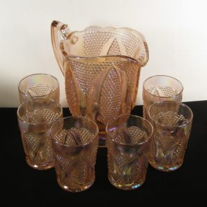 Westmoreland for Levay Pink High Hob Carnival Glass Water Set