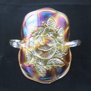 Antique Millersburg Marigold Holly Sprig Carnival Glass Advertising Card Tray