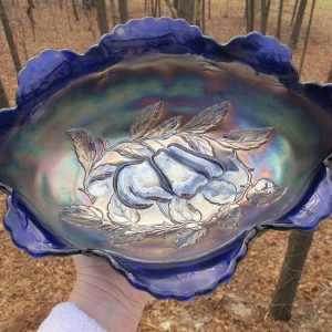 Antique Dugan Blue Peach & Pear Carnival Glass Large Oval Bowl