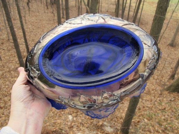 Antique Dugan Blue Peach & Pear Carnival Glass Large Oval Bowl