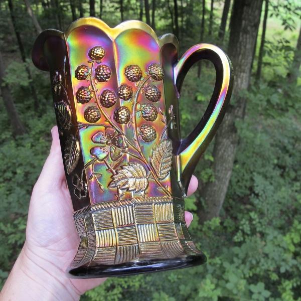 Antique Northwood Amethyst Raspberry Carnival Glass Milk Pitcher