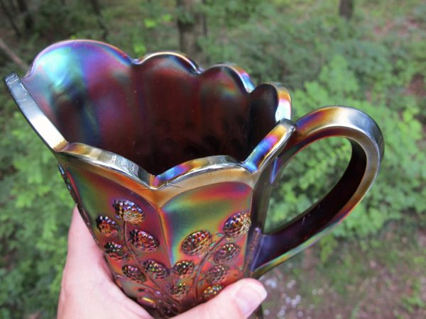Antique Northwood Amethyst Raspberry Carnival Glass Milk Pitcher